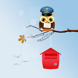 Owl postman on branches. Illustration of owl postman on branches Stock Image