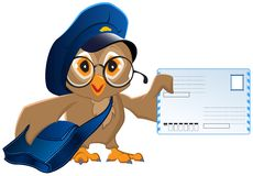 Owl postman brought a letter Stock Images