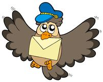 Owl postman with letter Stock Image