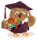Owl professor holding books Stock Photo