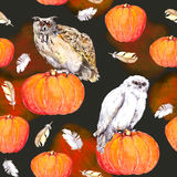 Owl on pumpkin. Halloween repeating pattern. Vintage watercolor Stock Photo