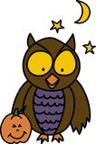 Owl And Pumpkin Royalty Free Stock Photos