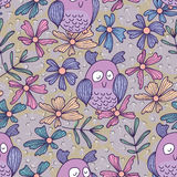 Owl purple seamless pattern Stock Photos