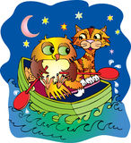 Owl and pussycat. A cartoon vector illustration of the owl and the pussy cat who went to sea in a pea green boat Royalty Free Stock Photos