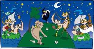 The Owl and the Pussycat (Panel). Illustrated depiction of the nursery rhyme about an owl and a cat that set sail to get married Royalty Free Stock Photography