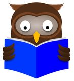 Owl Reading. Illustration of an Owl reading a book Stock Images