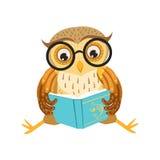 Owl Reading The Book Cute-Beeldverhaalkarakter Emoji met Forest Bird Showing Human Emotions en Gedrag Stock Foto's