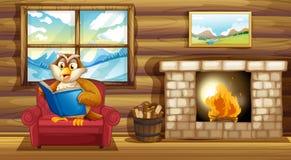 An owl reading a book beside a fireplace. Illustration of an owl reading a book beside a fireplace Stock Photo