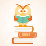Owl reading a book Royalty Free Stock Image