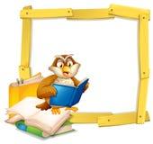 Owl Reading Book Template illustration stock