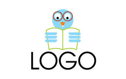 Owl reading logo. A logo that shows a light blue colored owl with glasses reading a book, with a pen tip as a beak. Owls are symbol of knowledge and therefore Royalty Free Stock Photography