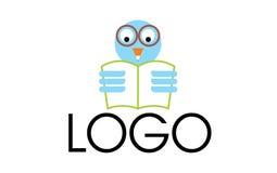 Owl reading logo Royalty Free Stock Photography