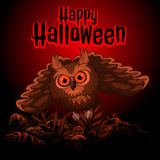 Owl on a red background with text Happy Halloween Royalty Free Stock Photos