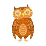 Owl Relaxed Cartoon Wild Animal mit den geschlossenen Augen verziert mit Boho-Hippie-Art-Blumenmotiven und Mustern Lizenzfreies Stockfoto