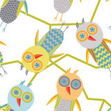 Owl repeating pattern. Repeating coroful owl pattern illustration Stock Photos