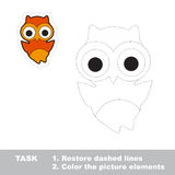 Owl. Restore dashed line and color picture. Trace game for children royalty free illustration