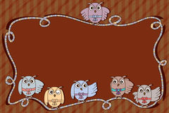 Owl ribbon frame space Stock Images