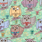 Owl ribbon gift seamless pattern Royalty Free Stock Images