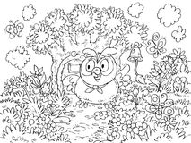 Owl rings the bell hanging on a tree. Black-and-white outline (for a coloring book) of the owl standing in front of the door in the house-tree vector illustration