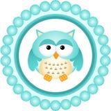 Owl Round Label blu Fotografia Stock Libera da Diritti
