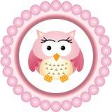 Owl Round Label rosa Immagini Stock