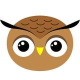 Owl`s face cute simple image vector illustration