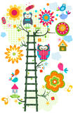 Owl`s tree. Colorful owl`s tree in bloom vector illustration