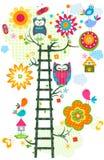 Owl`s tree vector illustration