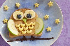 Owl sandwich for the kids Stock Images