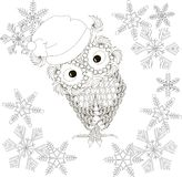 Owl in Santa Claus hat, snow-flakes, coloring page anti stress Stock Photo