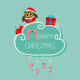 Owl in Santa hat, giftbox, snowflake, ball. Merry Christmas card. Hanging Candy Cane.  Stock Photos