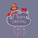 Owl in Santa hat, giftbox, snowflake, ball. Merry Christmas card. Hanging Candy Cane. Dash line with bow. Flat design.  Stock Photo