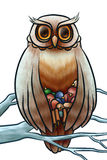 Owl save nestlings from cold. On the tree stock illustration