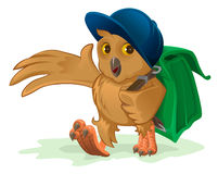 Owl schoolboy goes to school with his satchel behind. Illustration in vector format Stock Images