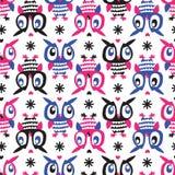 Owl Seamless-achtergrond Royalty-vrije Stock Afbeeldingen