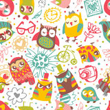 Owl seamless background with flower and fashionable things. Hear