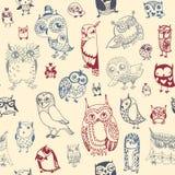 Owl seamless background. Stock Photos