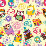 Owl seamless background. Hand drawn vector Royalty Free Stock Photo