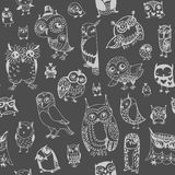 Owl seamless background. Monochrome. Hand drawn vector Stock Photography