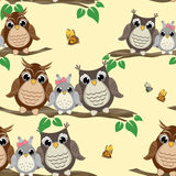Owl seamless pattern. Background with cute owls on the branch. Royalty Free Stock Photography