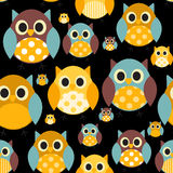 Owl Seamless Pattern Background Vector Photographie stock