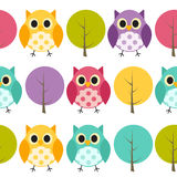 Owl Seamless Pattern Background Vector Fotografie Stock