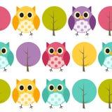 Owl Seamless Pattern Background Vector Fotos de archivo