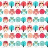 Owl Seamless Pattern Background Vector-Illustratie Royalty-vrije Stock Fotografie