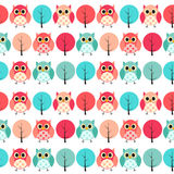 Owl Seamless Pattern Background Vector-Illustration Lizenzfreie Stockfotografie