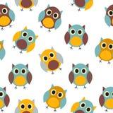 Owl Seamless Pattern Background Vetora Fotos de Stock Royalty Free
