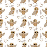 Owl seamless pattern. Illustration of cute owl in two poses in a pattern stock illustration