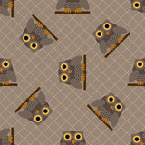 Owl seamless pattern. Illustration of grey owl sitting on a branch Stock Photography
