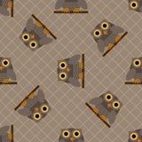 Owl seamless pattern. Illustration of grey owl sitting on a branch vector illustration