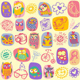 Owl seamless pattern on light background. Hand drawn vector Stock Photography